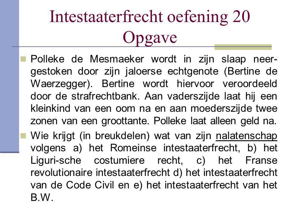 Intestaaterfrecht oefening 20 Opgave