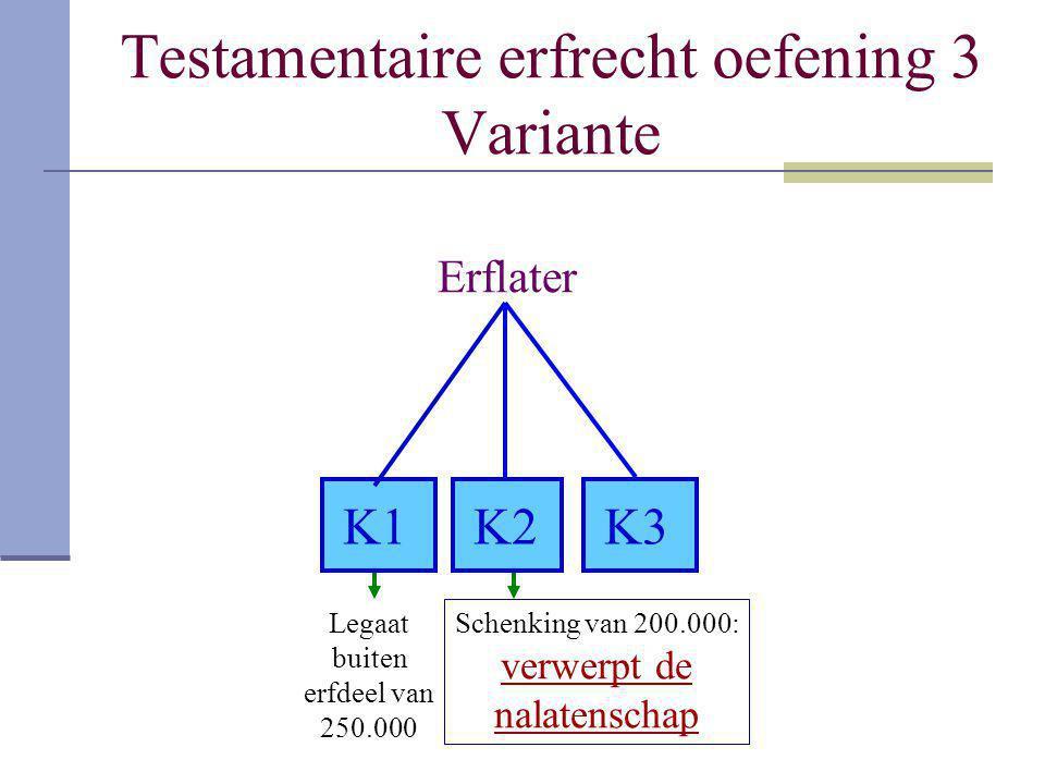 Testamentaire erfrecht oefening 3 Variante