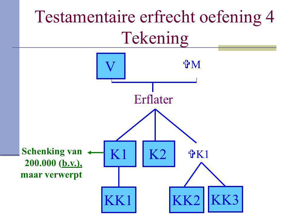 Testamentaire erfrecht oefening 4 Tekening