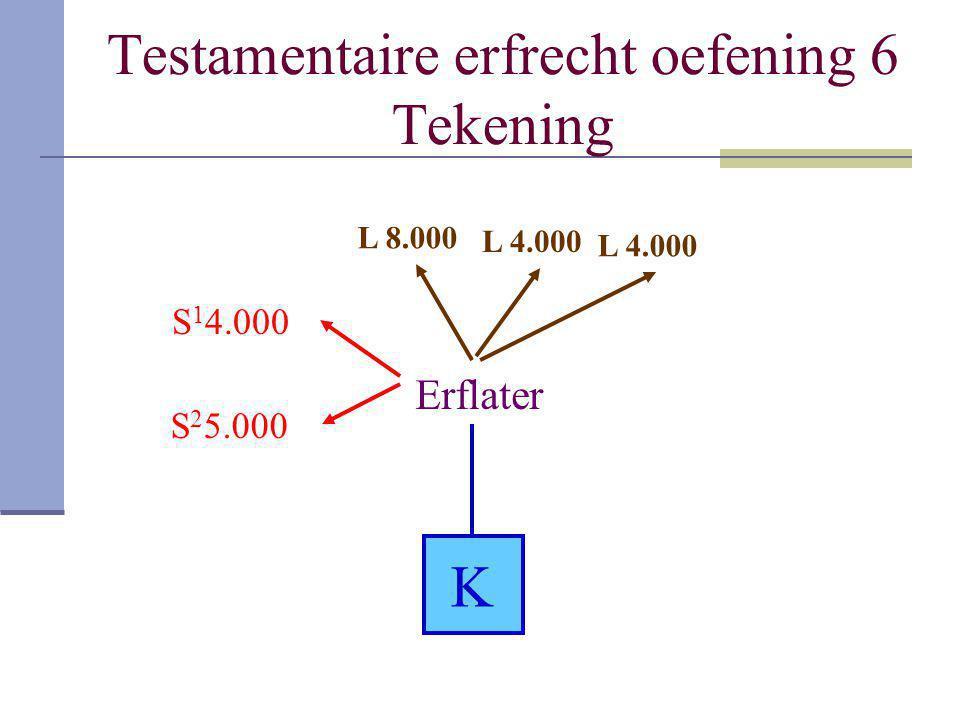 Testamentaire erfrecht oefening 6 Tekening