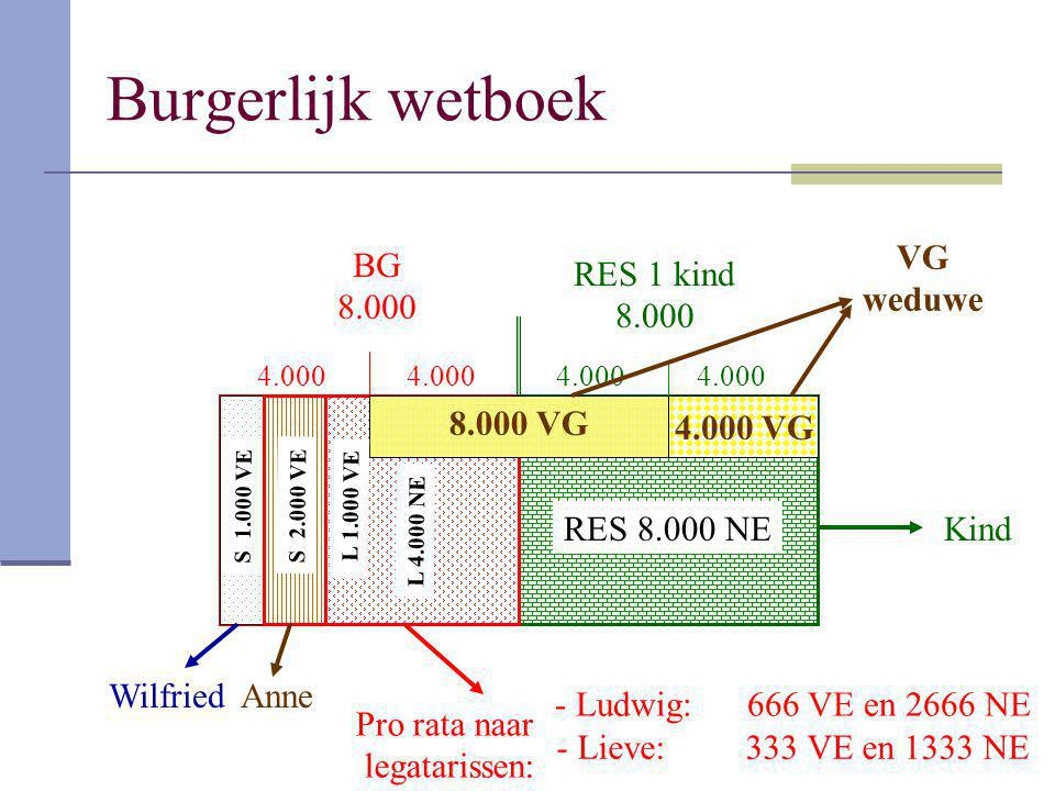 Burgerlijk wetboek VG weduwe BG 8.000 RES 1 kind 8.000 8.000 VG
