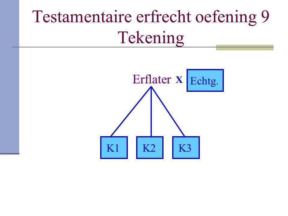 Testamentaire erfrecht oefening 9 Tekening
