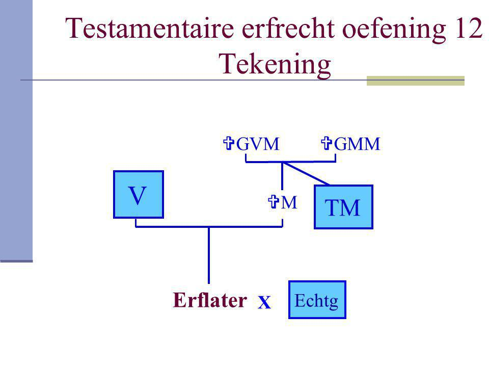 Testamentaire erfrecht oefening 12 Tekening
