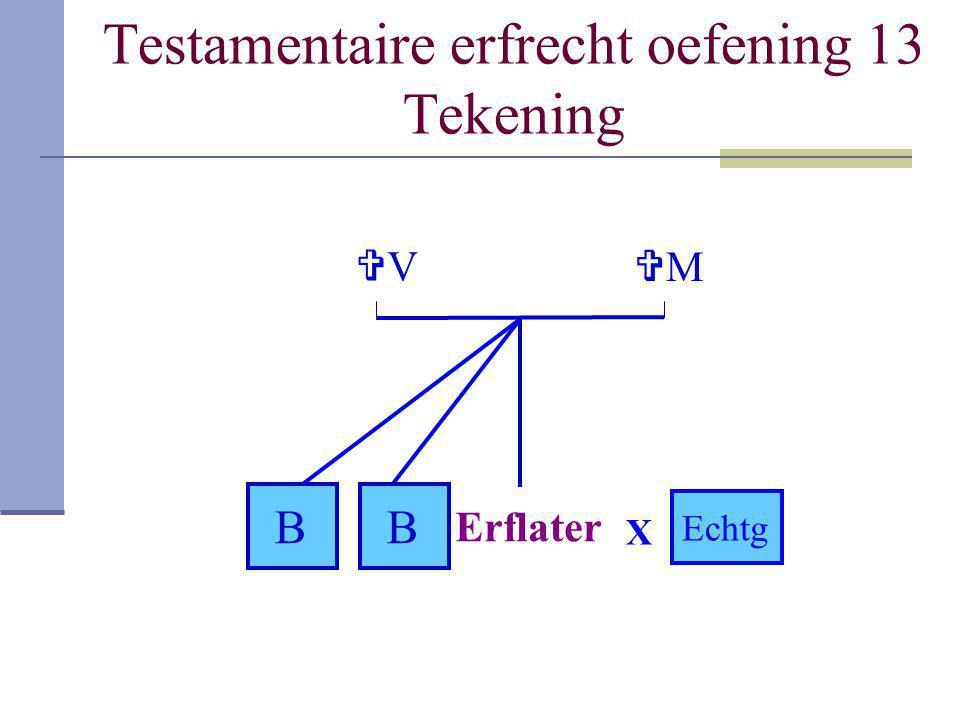 Testamentaire erfrecht oefening 13 Tekening