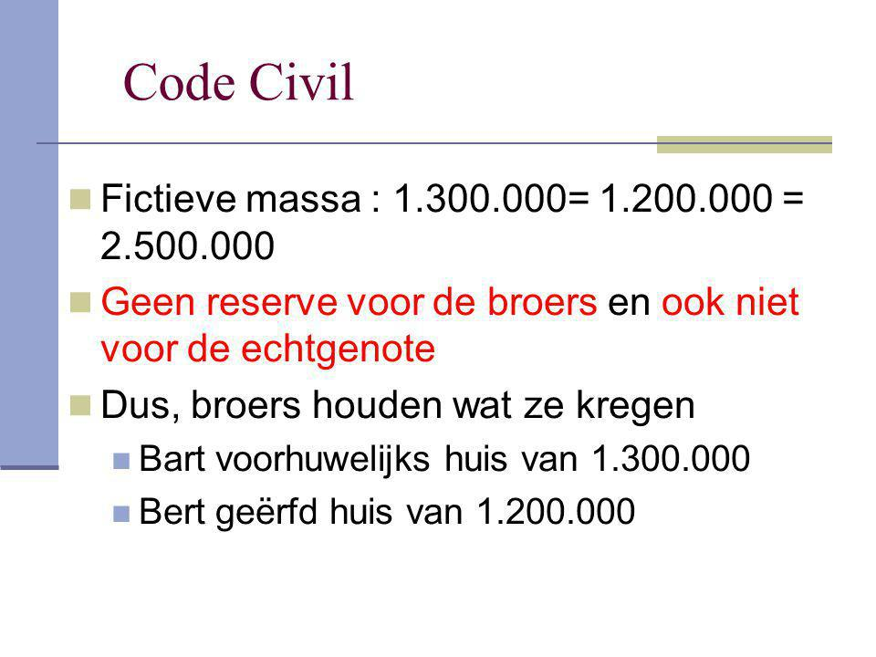 Code Civil Fictieve massa : 1.300.000= 1.200.000 = 2.500.000