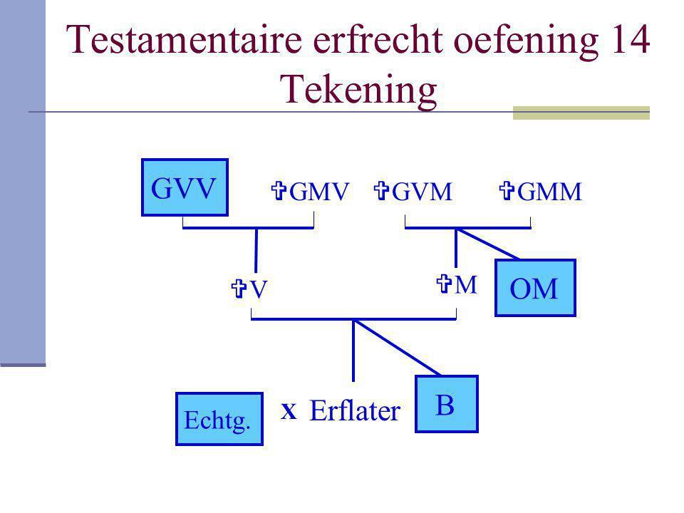 Testamentaire erfrecht oefening 14 Tekening