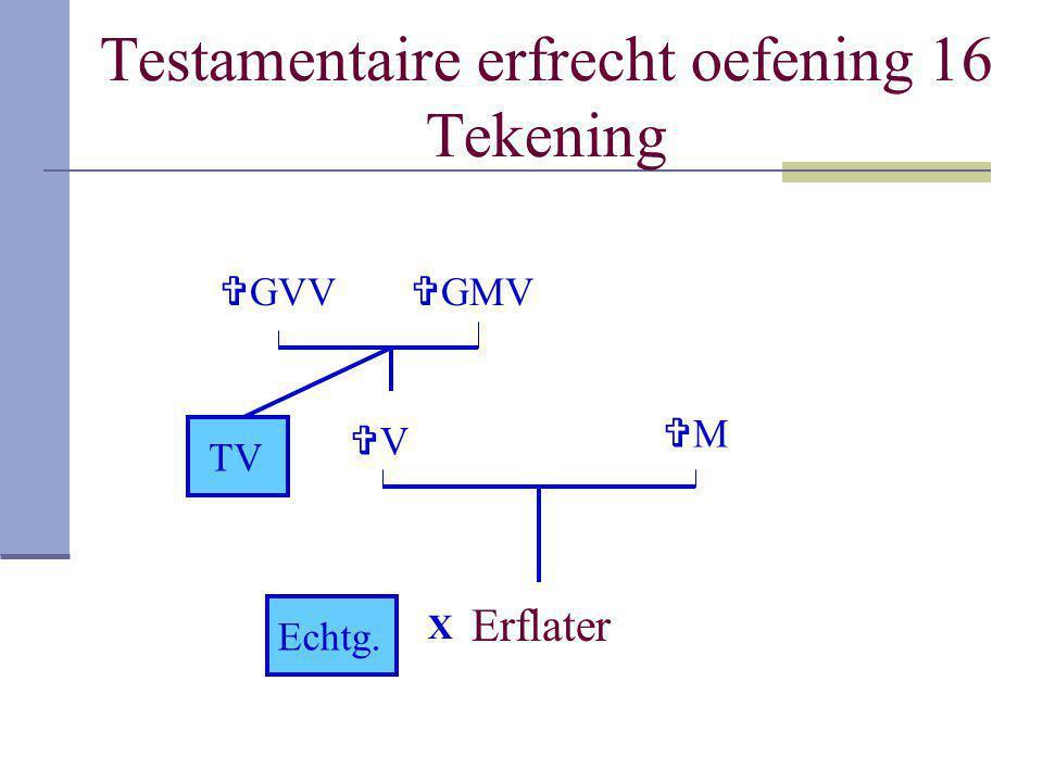 Testamentaire erfrecht oefening 16 Tekening