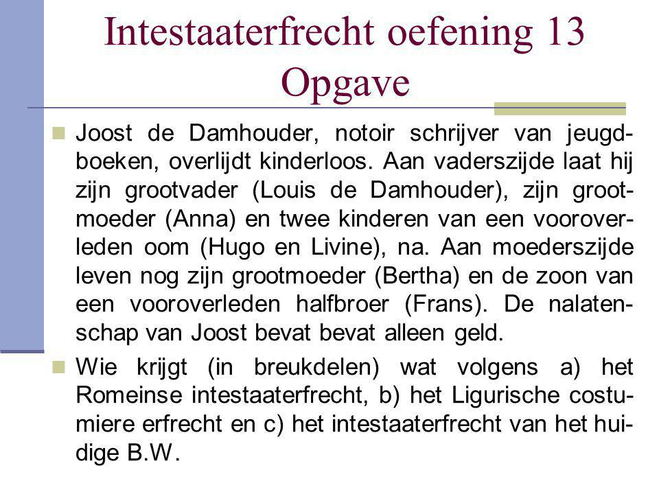 Intestaaterfrecht oefening 13 Opgave