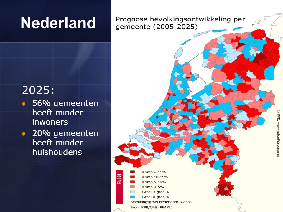 Nederland 2025: 56% gemeenten heeft minder inwoners