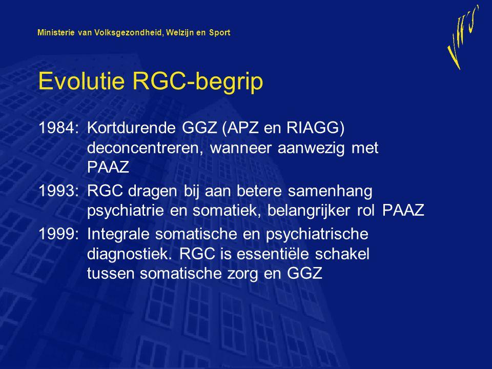 Evolutie RGC-begrip 1984: Kortdurende GGZ (APZ en RIAGG) deconcentreren, wanneer aanwezig met PAAZ.