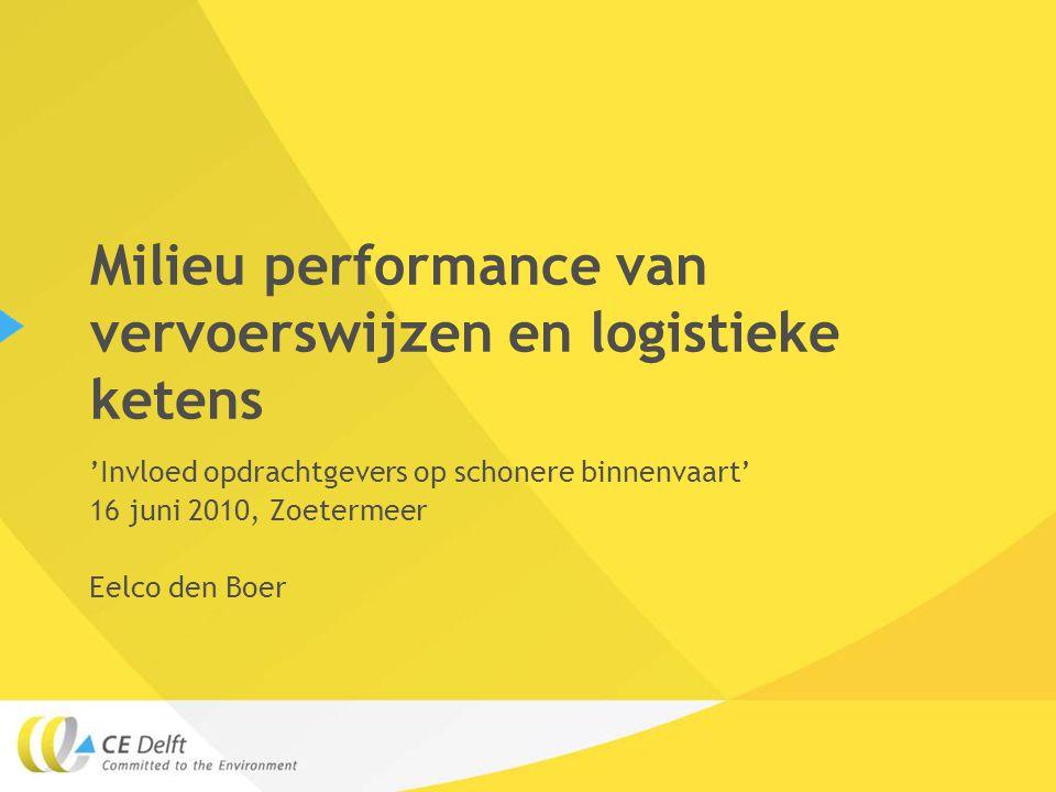 Milieu performance van vervoerswijzen en logistieke ketens