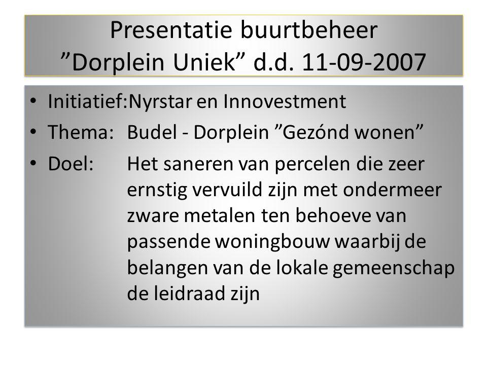 Presentatie buurtbeheer Dorplein Uniek d.d. 11-09-2007