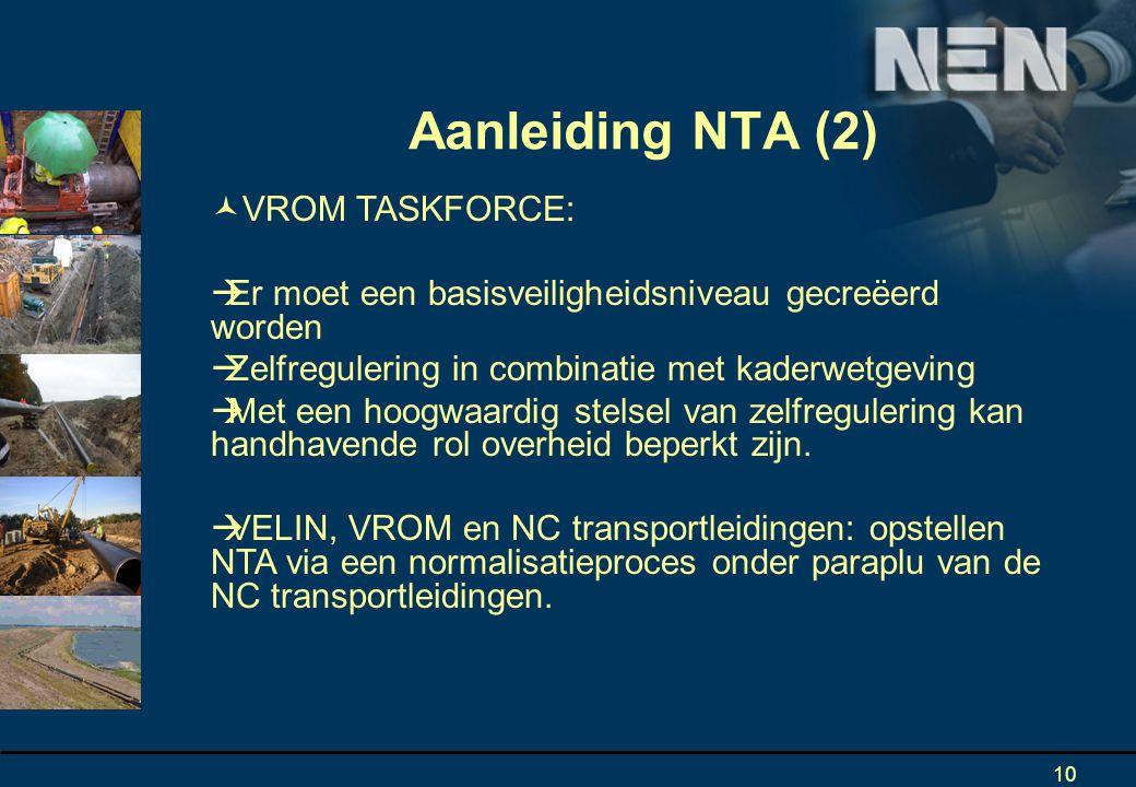 Aanleiding NTA (2) VROM TASKFORCE: