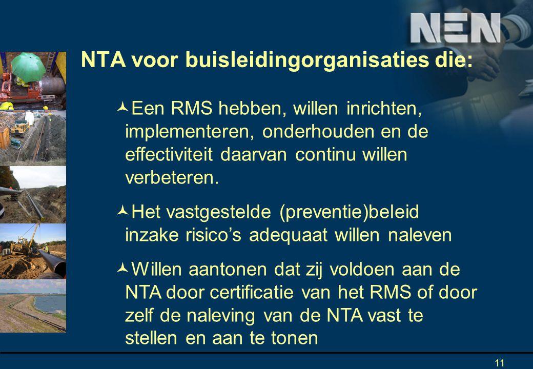 NTA voor buisleidingorganisaties die: