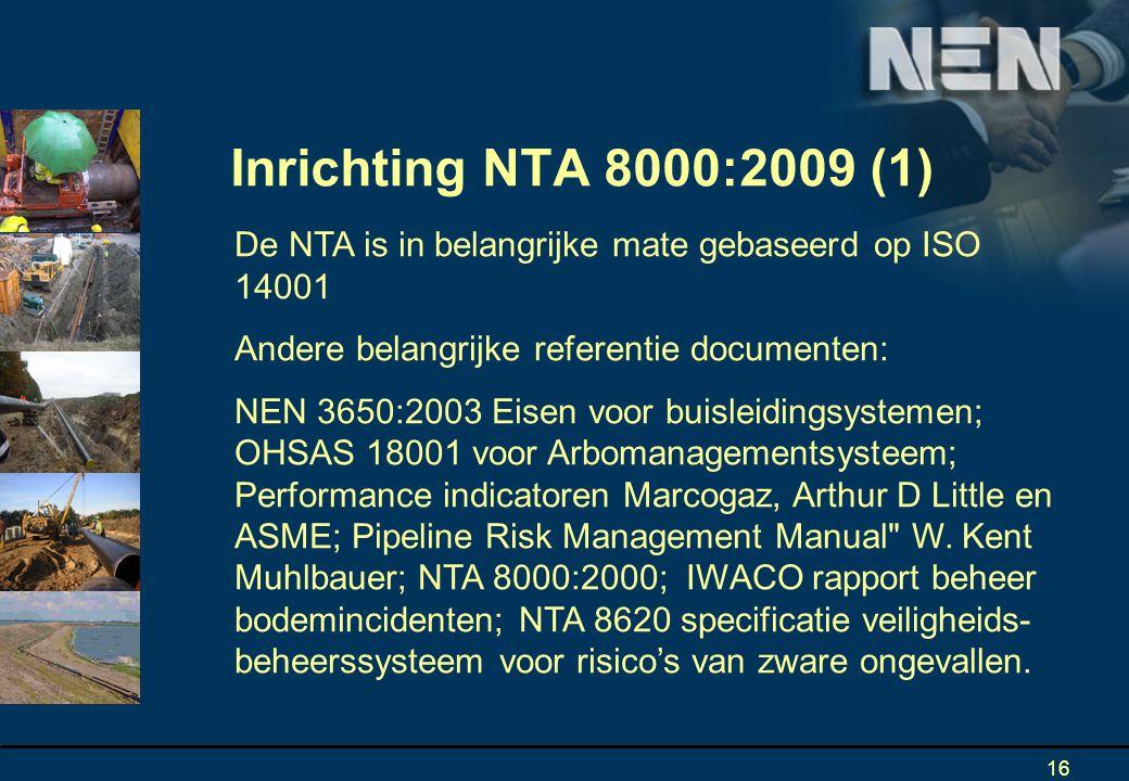 Inrichting NTA 8000:2009 (1) De NTA is in belangrijke mate gebaseerd op ISO 14001. Andere belangrijke referentie documenten: