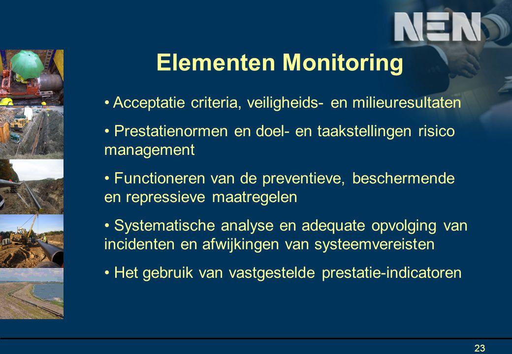 Elementen Monitoring Acceptatie criteria, veiligheids- en milieuresultaten. Prestatienormen en doel- en taakstellingen risico management.