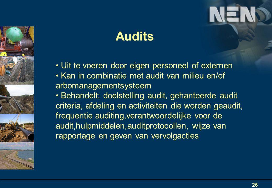 Audits Uit te voeren door eigen personeel of externen