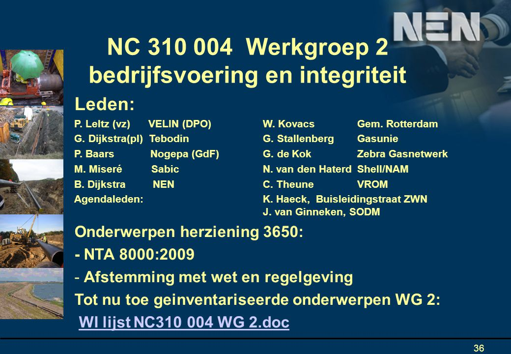 NC 310 004 Werkgroep 2 bedrijfsvoering en integriteit