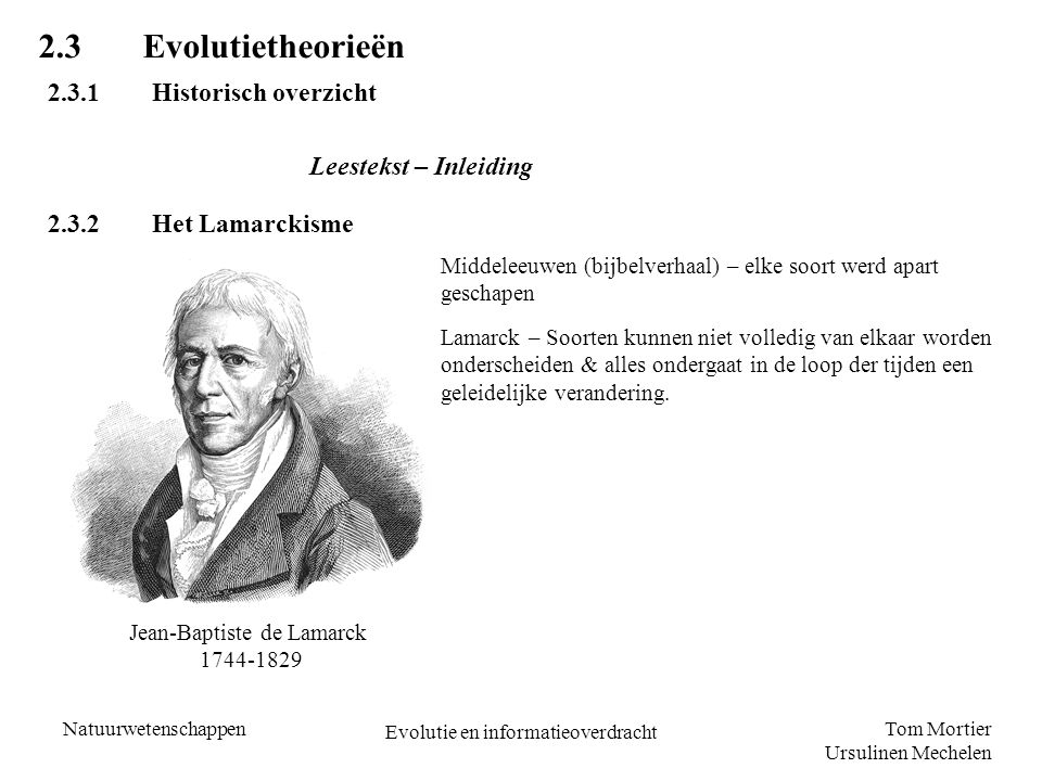 2.3 Evolutietheorieën 2.3.1 Historisch overzicht Leestekst – Inleiding