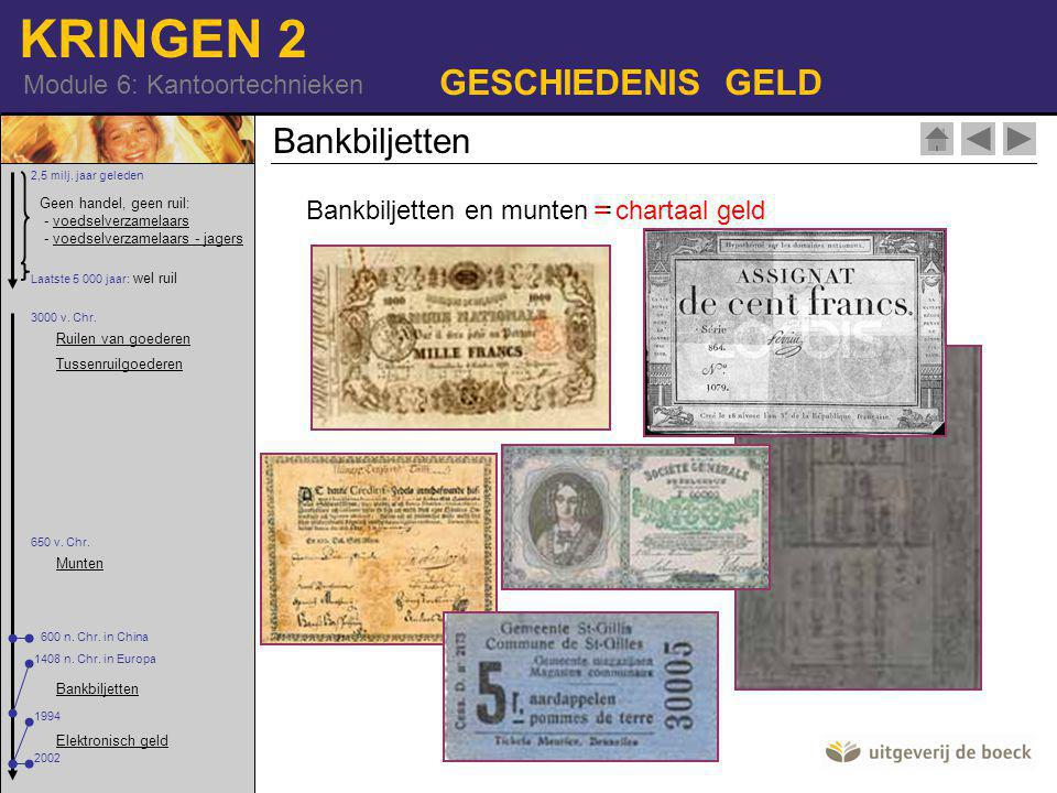GESCHIEDENIS GELD Bankbiljetten Bankbiljetten en munten =