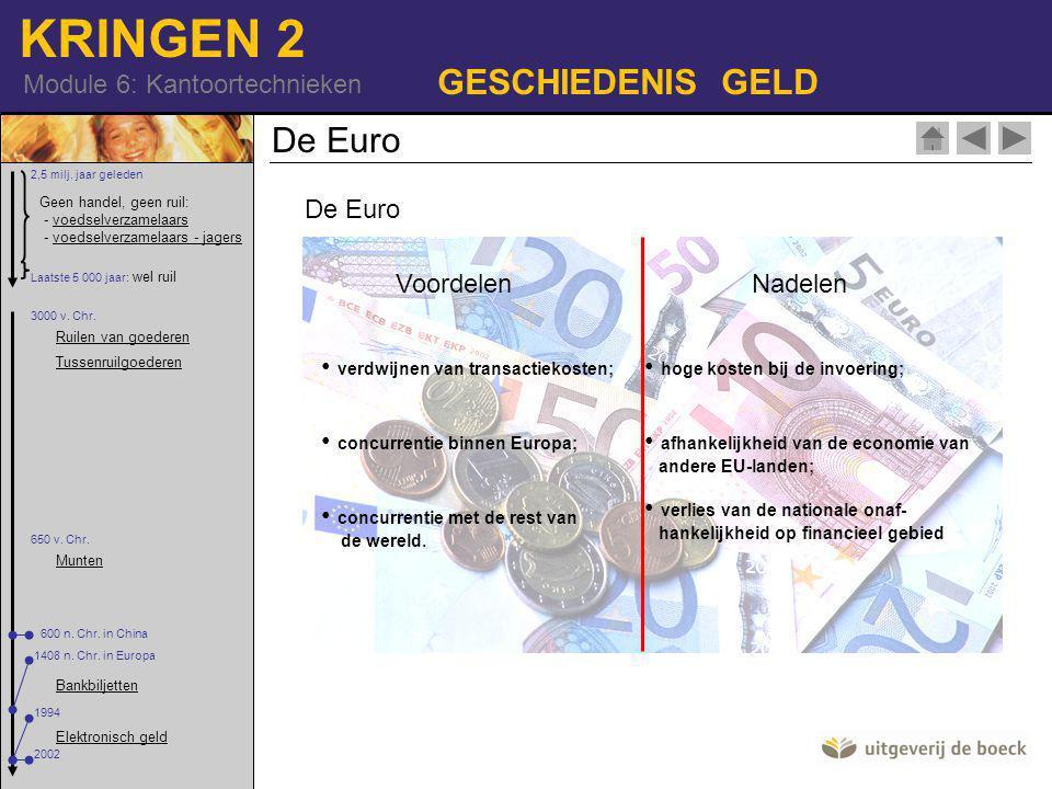 GESCHIEDENIS GELD De Euro De Euro Voordelen Nadelen