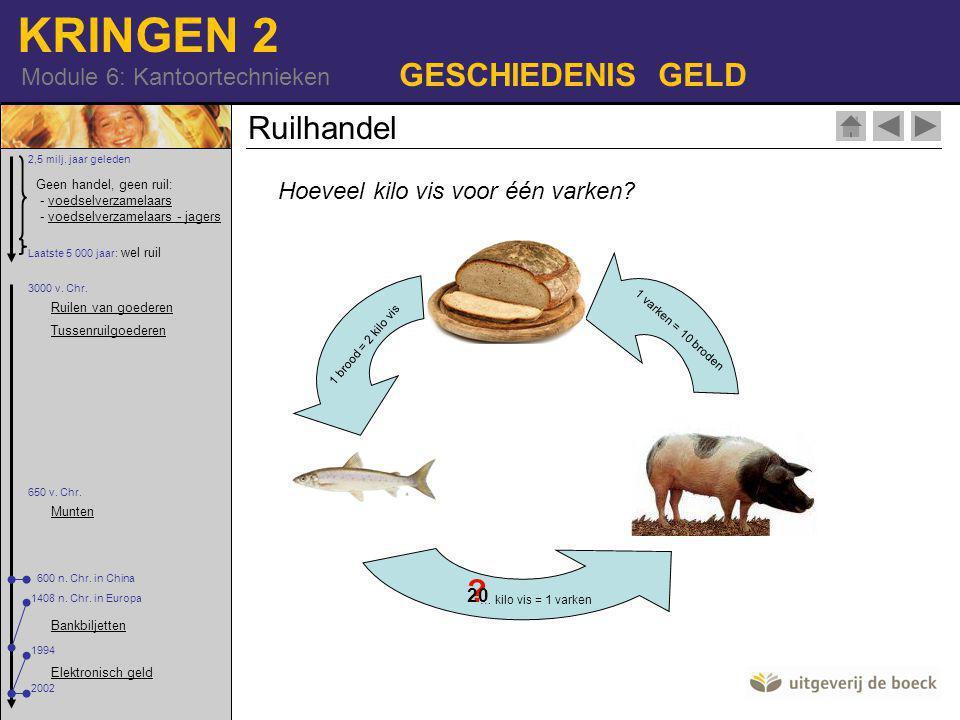 GESCHIEDENIS GELD Ruilhandel Hoeveel kilo vis voor één varken 20