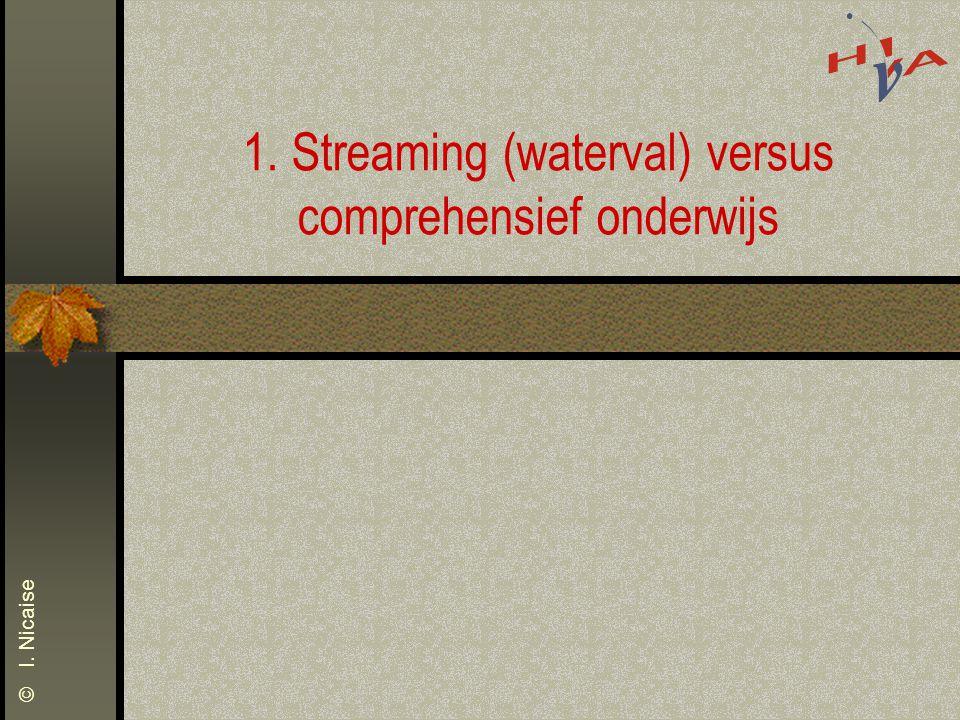 1. Streaming (waterval) versus comprehensief onderwijs