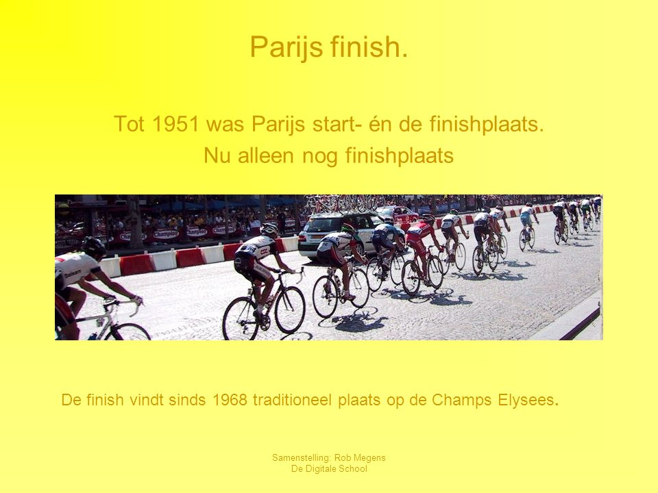 Parijs finish. Tot 1951 was Parijs start- én de finishplaats.