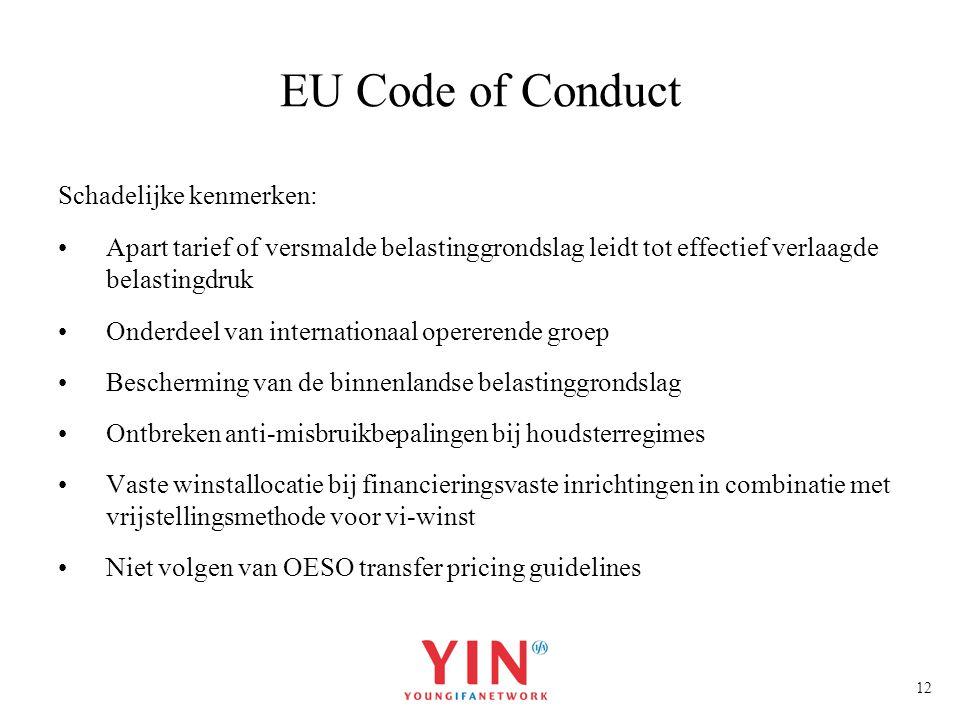 EU Code of Conduct Schadelijke kenmerken: