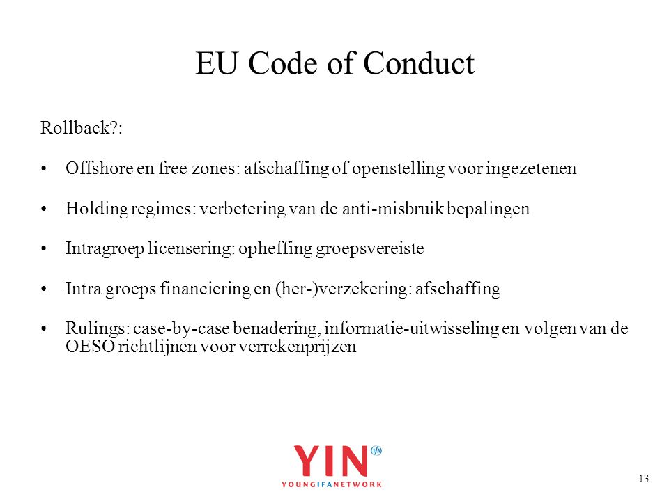 EU Code of Conduct Rollback :