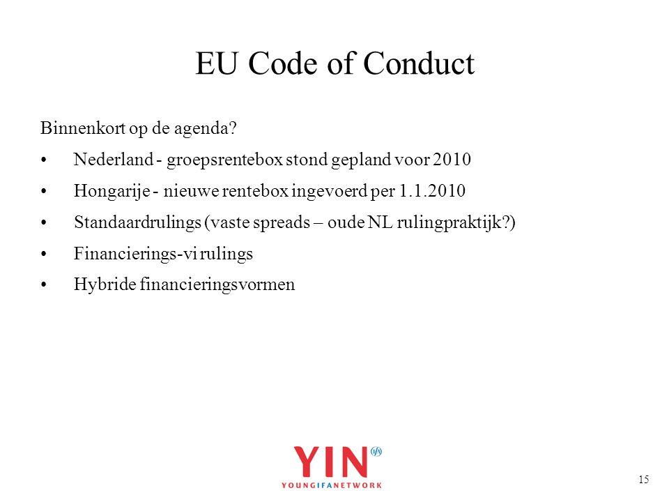 EU Code of Conduct Binnenkort op de agenda
