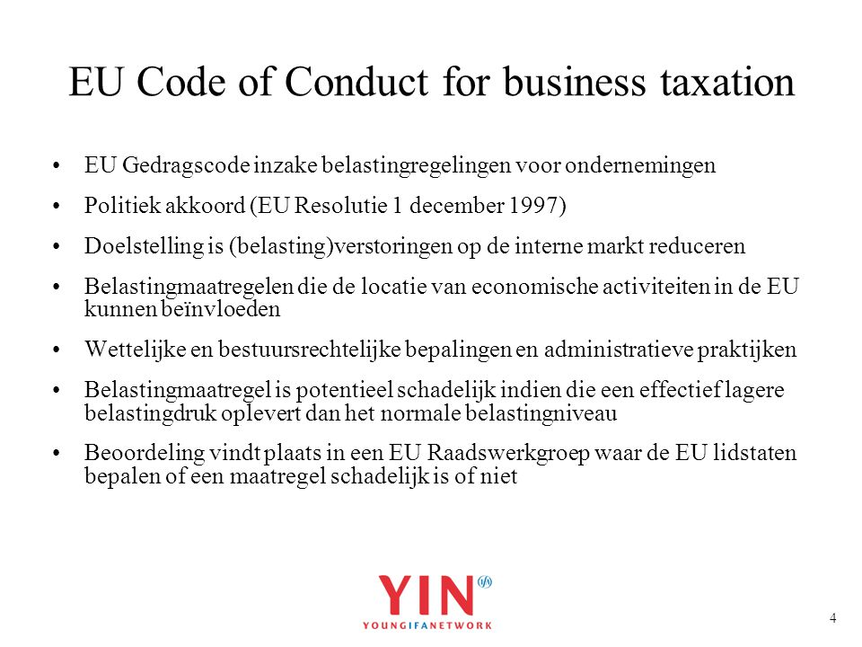 EU Code of Conduct for business taxation