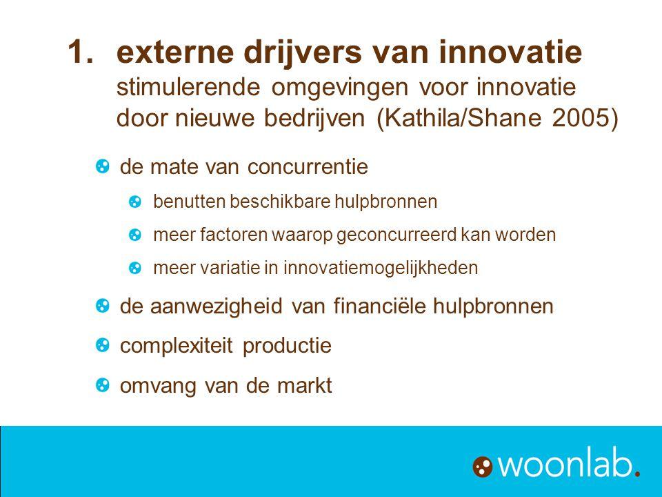 externe drijvers van innovatie stimulerende omgevingen voor innovatie door nieuwe bedrijven (Kathila/Shane 2005)