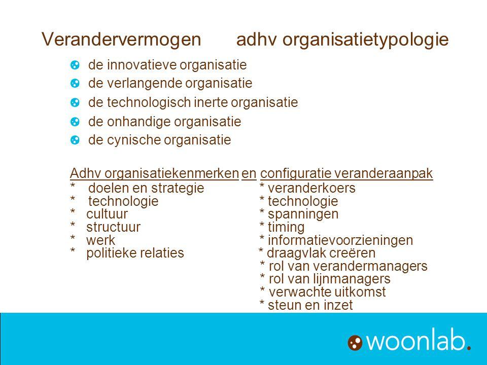Verandervermogen adhv organisatietypologie