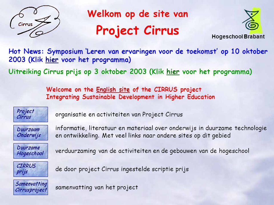 Project Cirrus Welkom op de site van