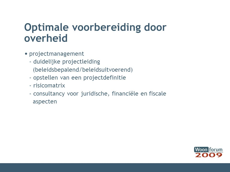 Optimale voorbereiding door overheid