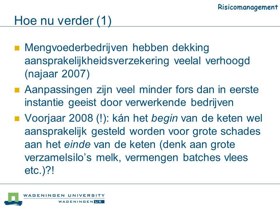 Risicomanagement Hoe nu verder (1) Mengvoederbedrijven hebben dekking aansprakelijkheidsverzekering veelal verhoogd (najaar 2007)