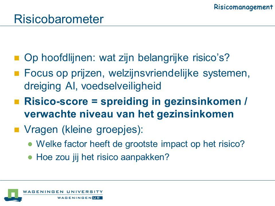 Risicobarometer Op hoofdlijnen: wat zijn belangrijke risico's