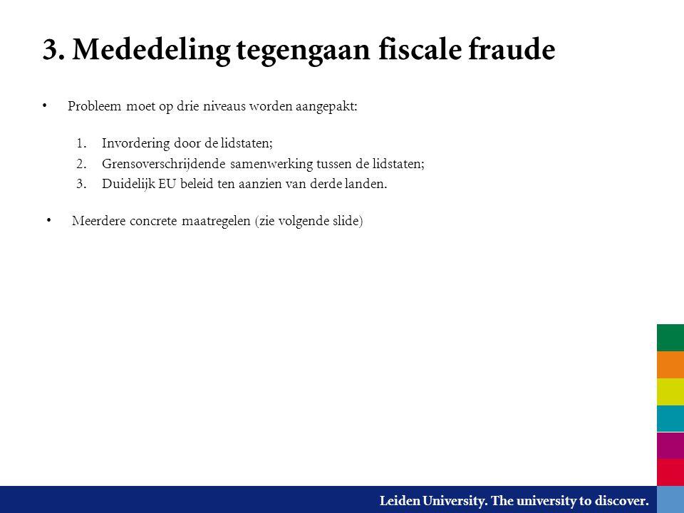 3. Mededeling tegengaan fiscale fraude
