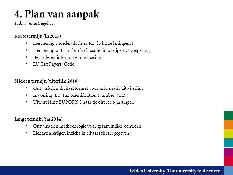 4. Plan van aanpak Enkele maatregelen