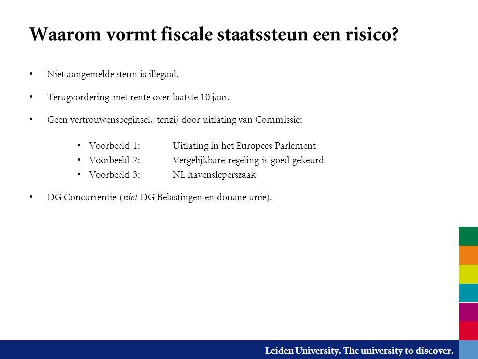 Waarom vormt fiscale staatssteun een risico