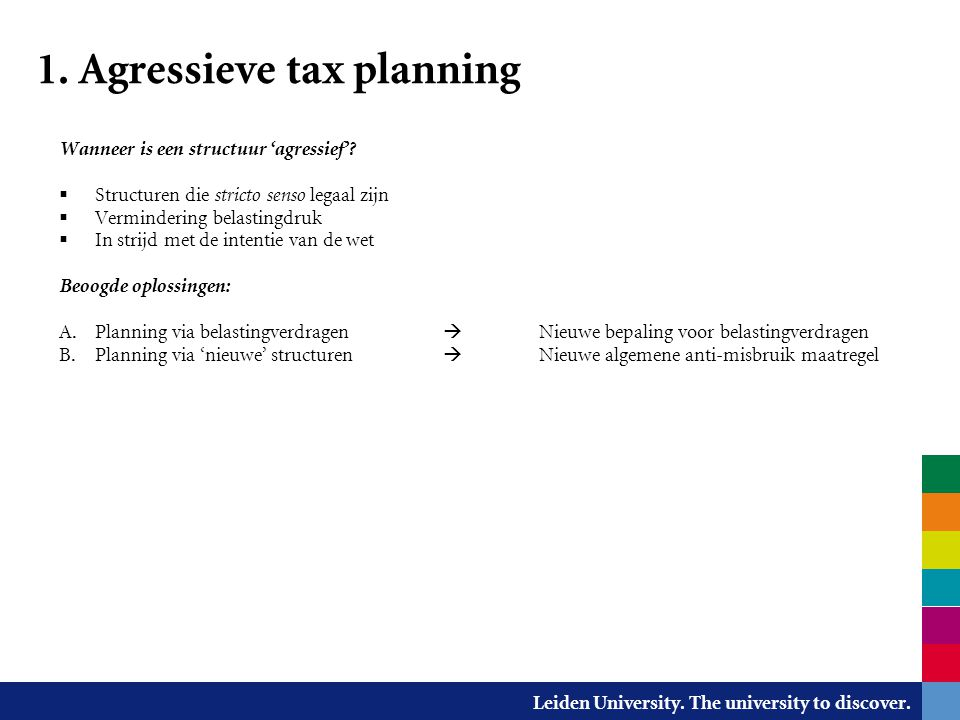 1. Agressieve tax planning