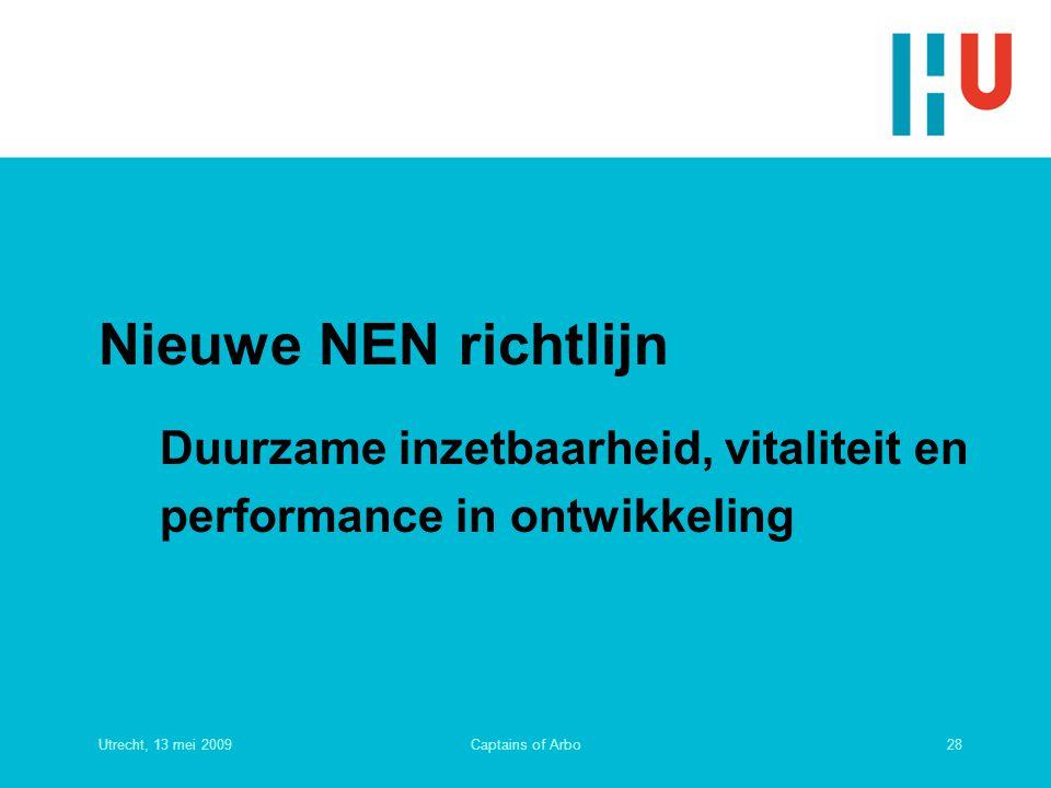 Nieuwe NEN richtlijn Duurzame inzetbaarheid, vitaliteit en performance in ontwikkeling. Utrecht, 13 mei 2009.