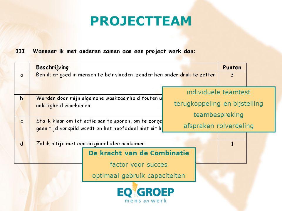 PROJECTTEAM individuele teamtest terugkoppeling en bijstelling
