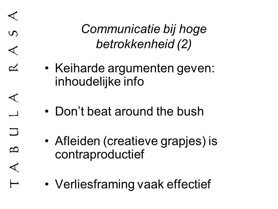 Communicatie bij hoge betrokkenheid (2)