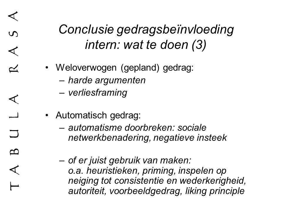 Conclusie gedragsbeïnvloeding intern: wat te doen (3)