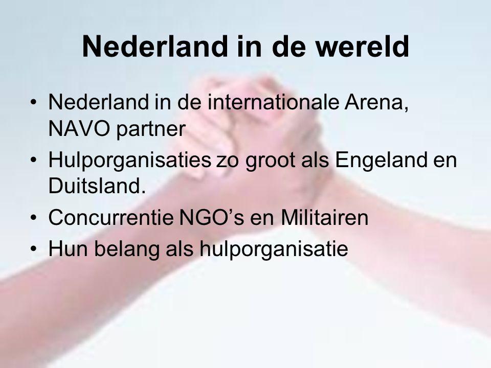 Nederland in de wereld Nederland in de internationale Arena, NAVO partner. Hulporganisaties zo groot als Engeland en Duitsland.