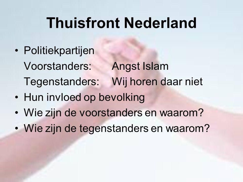 Thuisfront Nederland Politiekpartijen Voorstanders: Angst Islam