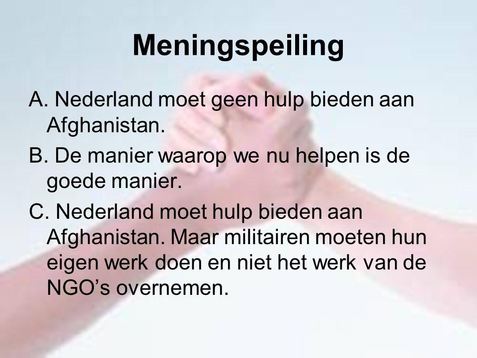 Meningspeiling A. Nederland moet geen hulp bieden aan Afghanistan.