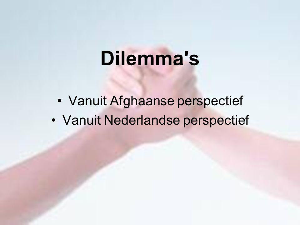 Dilemma s Vanuit Afghaanse perspectief Vanuit Nederlandse perspectief